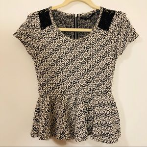 Anthropologie black, white floral top short sleeve